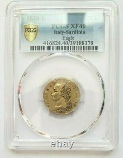 Very Rare And Beautiful Piece Of 20 Lire 1820 Turin Victor Emmanuel Pcgs Xf40