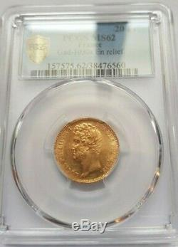 Very Rare And Slendide Room Of 20 Gold Francs Louis Philippe 1831 Pcgs Ms62