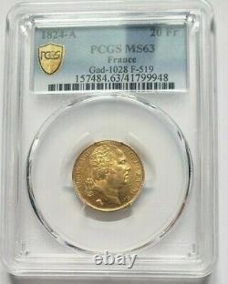 Very Rare And Splendid Piece Of 20 Francs Gold 1824 A Louis XVIII Pcgs Ms63