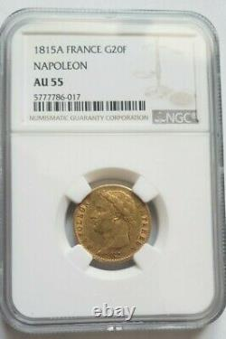 Very Rare And Superb 20-franc Gold Coin 1815 A Napoleon I Ngc Au55 Cent Days