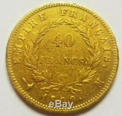 Very Rare And Very Beautiful Coin Of 40 Francs Gold 1809 M Toulouse Napoleon I