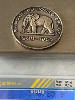Very Rare Belgian Bank Of Congo Medal 1909-1959 Vermeil Silver Medal