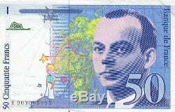Very Rare Billet 50 F Saint Exupéry 1992 Fay F. 72f4.01 No. H 003066903 Ss Strap