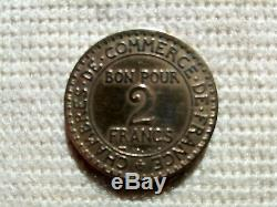 Very Rare Coin 2 Francs Chamber Of Commerce 1927 Tb