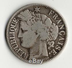 Very Rare Coin Of 2 Francs Silver Ceres Of 1850 Bb (strasbourg) Silver Coin