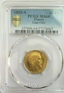 Very Rare Condition For A Piece Of 20 Francs 1853 A Napoleon III Pcgs Ms 64 Fdc