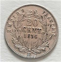 Very Rare Currency 20 Cents Napoleon III 1856 Bb Strasbourg 13342 Ex Superbe