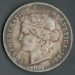 Very Rare Ecu / Currency Of 5 Swiss Francs Silver 1894 B @ Qualite @ Swiss Coins