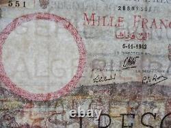 Very Rare - Joli Billet 1000 Frs Algeria /trésor 06/11/1942 Ttb / Variety
