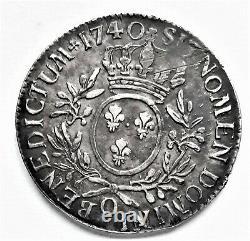Very Rare Louis XV Ecu To Olive Branches 1740 O Riom 29.31 G
