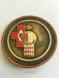 Very Rare Medal Hsh Prince Albert Of Monaco 40 Birthday Signed Refc237