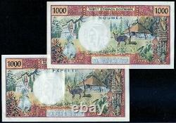 Very Rare Pair 1000 Francs Papeete - Noumea Without Republic In Neuf