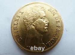Very Rare Pice 40 Francs Gold From Charles X 1830 A Mistakes On The Sup Slice