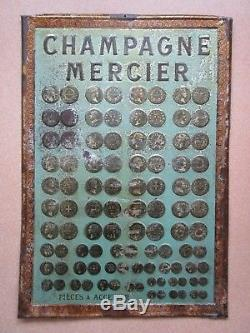 Very Rare Plaque Tole Lithograph Champagne Mercier Epernay Medal Coin