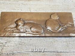 Very Rare Plaque/medaille In Bronze By Paul Michaux 1955 Cats