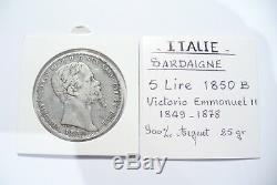 Very Rare Pretty Currency Silver Ecu V. E. II 5 Lire Italy 1850 B Turin Tb +