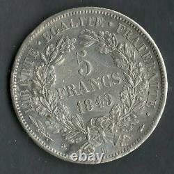 Very Rare Quality 5 Francs Argent Ceres 1849 Bb Strasbourg