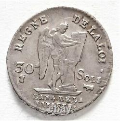 Very Rare Revolution Louis XVI 30 Sols 1792 Pau An 4 1st Semester 9.83 G