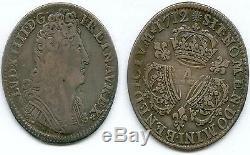 Very Rare Royal Mint @ Quart Ecu Aux 3 From Louis XIV Silver Crowns 1712 A