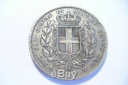 Very Rare Silver Currency Carlo Albert 1833 Turin Eagle Ttb + / 5 Lire Italy