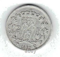 (no.41) Charles X 2 Francs 1827 Q (perpignan) 14314 Ex Tres Rare (ttb-)