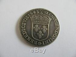 1/4 écu de Louis XIII 1643D très rare