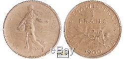 1 Franc Semeuse Argent 1900 Flan Mat Pcgs Pr63 Très Rare Issue Du Coffret