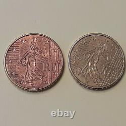 10 CENTIMES D EURO VARIETE TRES RARE FRANCE 1999 couleur 1 face differente