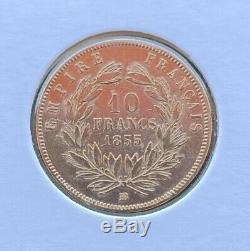 10 Francs Or Napoléon III, Grand Module, 1855 BB, TRES RARE, Entre TTB et SUP