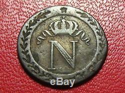 10 centimes Napoléon Ier 1810 T Nantes Très rare, beaux restes d'argenture