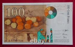 100 Francs Cézanne 1997 Neuf Lettre A Très Rare