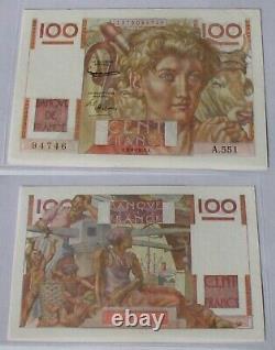 100 Francs Jeune Paysan A. 6.8.1953 A. 551 Très Rare filigrane inversé & Normal