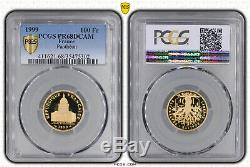 100 Francs Pantheon 1999 Be Or. Tres Rare. Pcgs Proof 68 Dc. 8,45 Grs