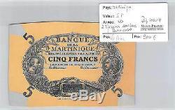 2 Billets Martinique Epreuves 5 Francs Nd Avers Et Revers Tres Rare
