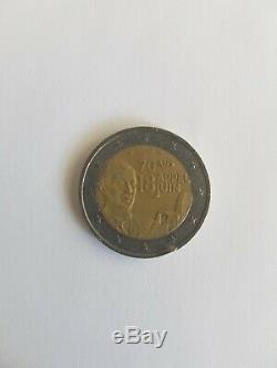 2 Euros pièce Très Rare commémorative 70ans Appel 18 Juin Charles De Gaulle 2010