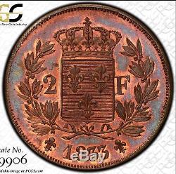 2 Francs 1833 Henri V en Bronze PCGS MS64 Plus haut grade connu très rare R3