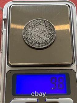 2 francs suisse argent 1863, Très très belle pièce, Rare