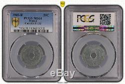 20 Centimes 1945 B Zinc. Tres Rare. Pcgs Ms64