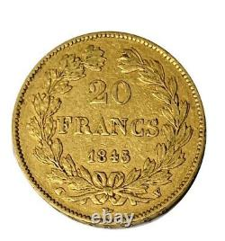 20 Francs Louis Philippe 1845 W Lille Or/gold (tres Rare)
