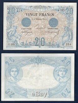 20 Francs Noir Type 1873 17/12/1874 O. 185 TTB + Très RARE