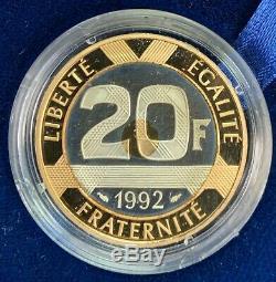 20 Francs Or Mont Saint Michel 1992 Épreuve Or Argent Très Rare