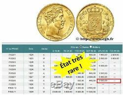 20 Francs or Gold Charles X 1828 A Paris 5 feuilles, SPL, État trés rare
