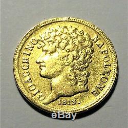 20 lire Or Joachim Murat 1813 Royaume des deux Siciles très Rare TTB