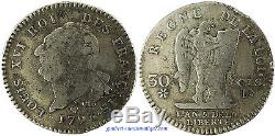 30 SOLS, TYPE FRANçAIS, 1793 BB STRABOURG, CONSTITUTION, TRES TRES RARE