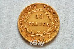 40 Francs NAPOLEON 1er- 1806 W 4306 ex TRES RARE