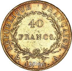 40 Francs or Napoléon tête nue AN14 Paris rare très bel exemplaire TTB+/SUP