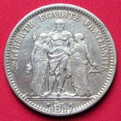 5 Francs Hercule Argent 1871 A (camélinat) Rare Ttb Très Bel Exemplaire