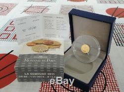 5 euro BE France 2011 or gold SEMEUSE 2011 42 TRES RARE