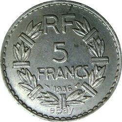 5 francs LAVRILLIER 1936 garantie authentique, très rare