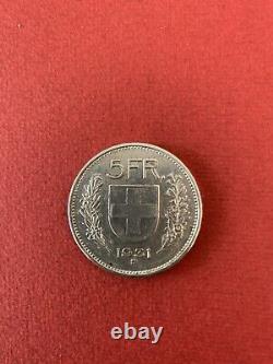 5 francs suisse argent 1931, 10 au dessus de la tête, Rare et très belle